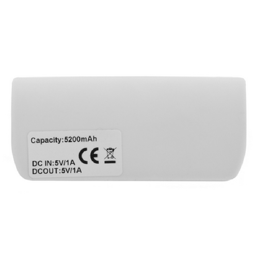 Power bank 5200 mAh z lampką V3386-02 biały